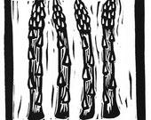 asparagus linocut print...