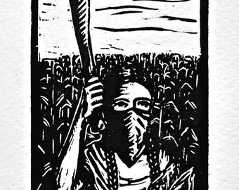 Autonomia, Zapatista woman with corn and machete
