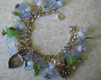 "Moonstone Blue and Silver, ""Fly Away"" Charm Bracelet"