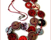 Disc-Chic Necklace -Red Brocade- Polymer Clay Jewelry by Iris Mishly - Private Collection
