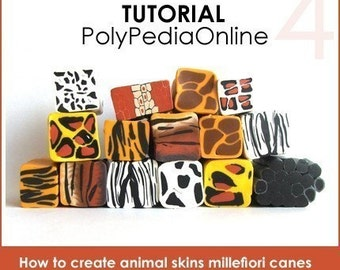 Polymer clay tutorial, Polymer clay ANIMAL SKIN millefiori canes tutorials, How to polymer clay canes, Millefiore |  20 pages PDF | Vol 4
