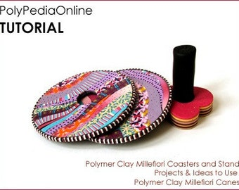 Polymer clay tutorial, Polymer clay millefiori COASTER, Home decor tutorial how to | Use millefiori canes | 15 pages PDF & VIDEO | Vol 21