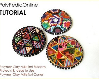Polymer clay tutorial MILLEFIORI Buttons, millefiore, bookmark, Polymer clay tutorials | The Millefiori Celebration| 15 pages PDF | Vol 22