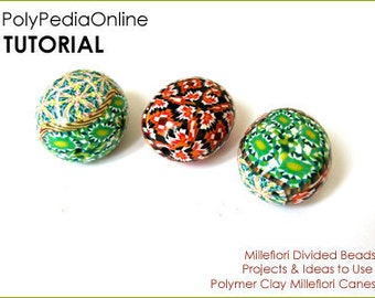 Polymer clay tutorial, Millefiori Beads, Polymer clay beads, Handmade beads, DIY Millefiore | Use Millefiori Canes | 9 pages PDF | Vol 21
