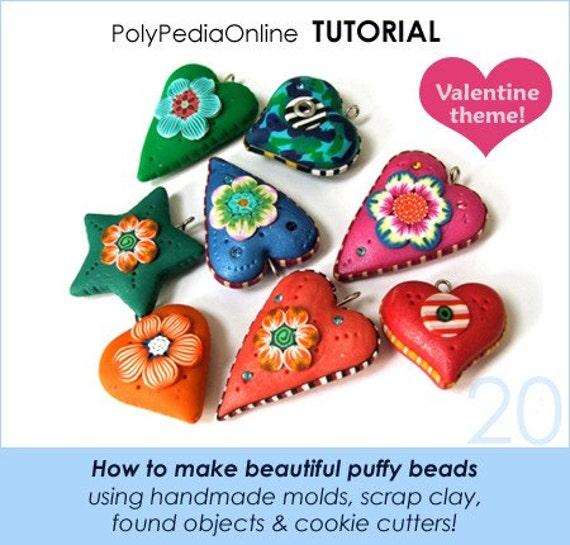 Polymer clay tutorial, Handmade polymer clay beads, Heart beads, Puffy beads, Handmade molds, Polymer scrap clay tutorial | Vol 20