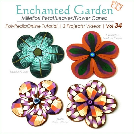 Polymer clay tutorial, Millefiori canes, Millefiore tutorial, FLOWER canes tutorial | Enchanted Garden | 3 Projects, PDF & Videos | Vol 34