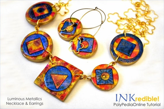 Polymer Clay Tutorial PolyPedia E-Book Vol 42 - INKredible Polymer, Alcohol Ink Tutorial, PDF & 2 Videos - Necklace and Pendants Projects