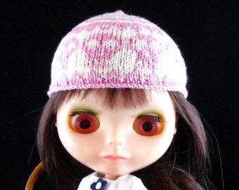 Handknit Skulls Patterned Hat For Blythe