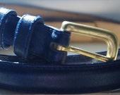 Basic Navy Skinny Belt