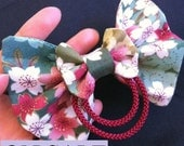 SALE - was 14.00 now 12.00 - double HAIR BOW cherry blossom sakura - 100% cotton - with alligator clip - great with kimono