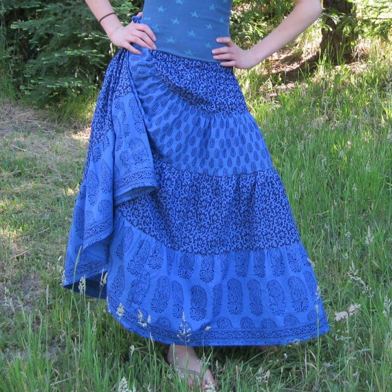 """Womens OOAK Handmade Blue and Purple 4 tiered Spin Skirt Hips to 44"""""""