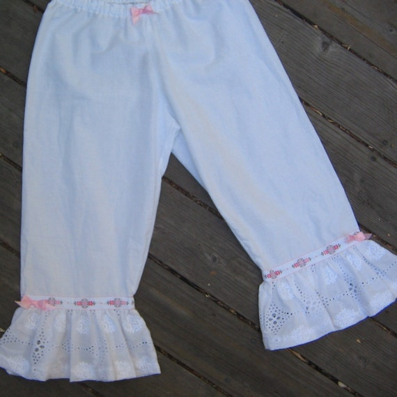 Womens White Cotton Victorian Steampunk Bloomers