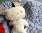 White Sleepy Bear Plushie Made from Organic Cotton Fleece