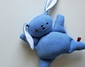 Blue Stripey Mooshy Belly Bunny - Easter - baby toy - Rabbit Plush - Stuffed Animal - Upcycled - Bunny Plushie - Soft - Sweet - Small