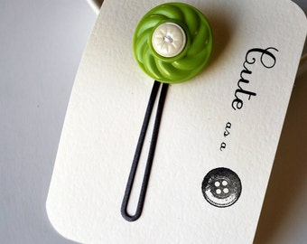Cute as a Button--Chartreuse and White Vintage Button Hair Pin
