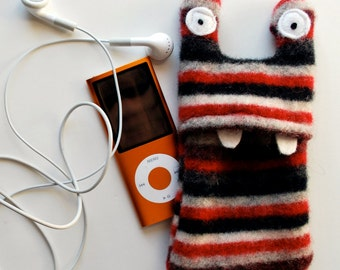 Red and Black Stripey Monster iPod or iPhone Cozy