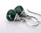Emerald Earrings Oxidized Sterling Silver Wire Wrapped May Birthstone Emerald Jewelry