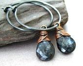 Blue Kyanite Hoop Earrings Black Sterling Silver Hoops Copper Wrapped Rustic Jewelry Christmas In July
