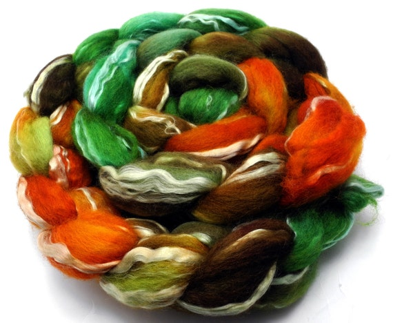 Steampumpk -- BFL and seacell hand dyed top (hand dyed roving)