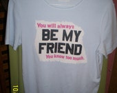 Rescued Rags - You Know Too Much pale blue t-shirt sz. med.