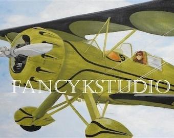 788 VINTAGE BIPLANE airplane aeroplane painting Waco Bi-plane 8x10 ART PRINT