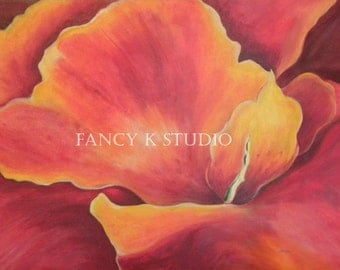 790 Dramatic Red Hibiscus Floral  8x10 Limited Edition Art Print