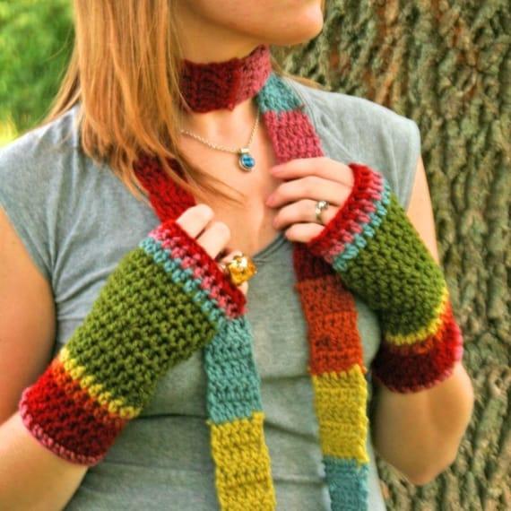 Rainbow Crochet Toasties and Scarf Set