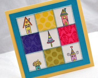 Quilted Houses Card - Whimsical