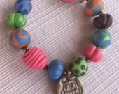 Multicolor Owl Charm Polymer Clay Bracelet
