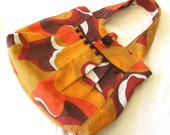 The Marilu Bag (Orange and Red Vintage Fabric w\/ dark brown lining)