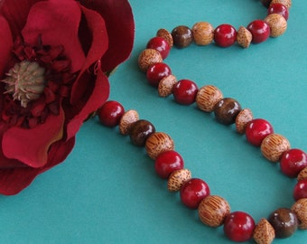 Deep Red Wood Necklace