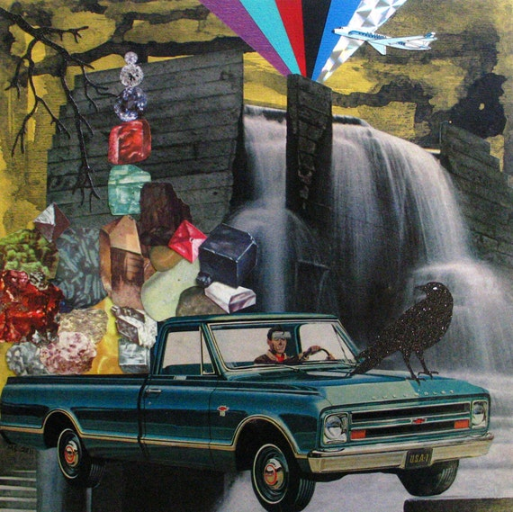 Painting and Collage on Wood-Chevy Pick-up Full of Jewels