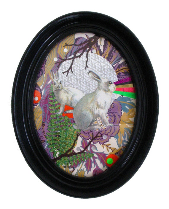 White Rabbits with Lazers Collage in Vintage Frame