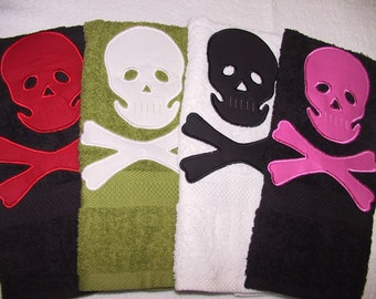 Skull and Crossbone Hand Towel: Handmade Home Decor