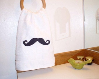 Mustache Hand Towels/soft white towel/great gift/fun for bath or kitchen