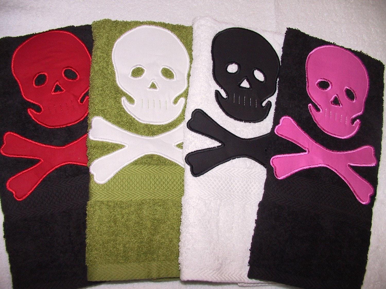Skull and Crossbone Soft Hand Towel many colors handmade great