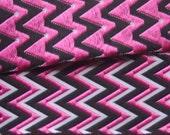 ZigZag Woven Ribbon-Pink\/Black\/White-1 yard