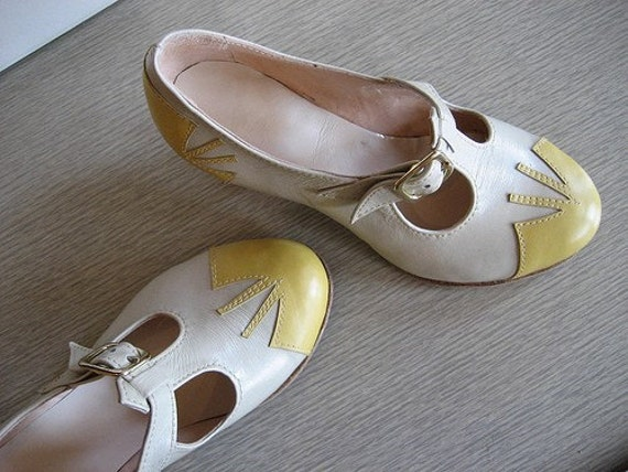 pale yellow and white vintage style mary jane heels