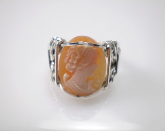 Italian Shell Cameo Sterling Silver Ring