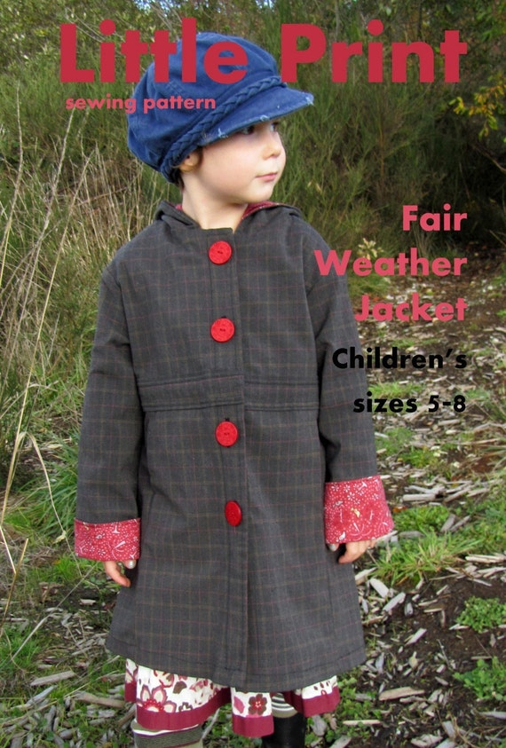 Fair Weather Jacket PAPER PATTERN for child sizes 5 to 8