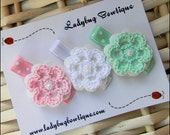 Crochet Flower Hair Clip Trio - Pink, White and Mint