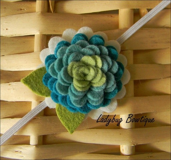 Wool Felt Flower Clip or Skinny Elastic Headband - Peacock