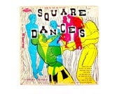 Neon Album Art // Vintage Square Dances LP // Graphic Mid Century Album Cover