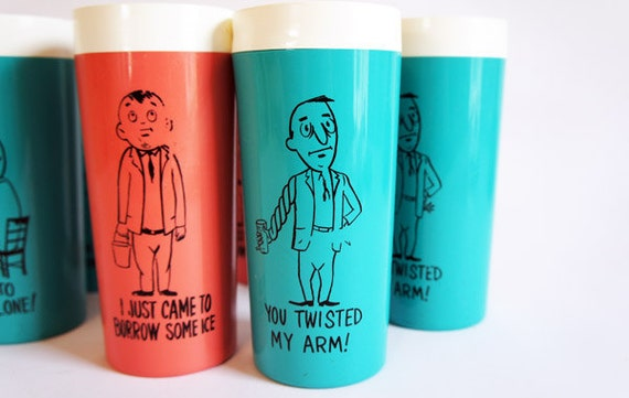 Cocktail Cups w/ MidCentury Illustrations