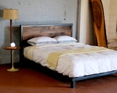 Kraftig Platform Bed with Rough Walnut Headboard