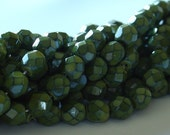 6mm Opaque Dipped Decor Fire Polished Beads - Hunter Green- 25 Pieces - LCCZ-626-HG
