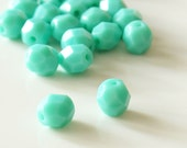 6mm Czech Fire Polished Green Beads in Opaque Turquoise - 25 Pieces - 6396