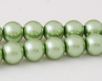 8mm Round Glass Pearls - Light Olivine - 50 Pieces Strung - 0308