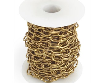 12mm x 6mm Antique Brass Chain - Lead and Nickel Free - 3 feet - 0103