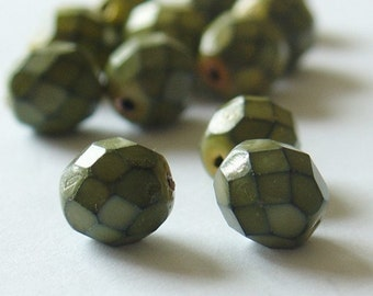 Jablonex Fire Polished 8mm Czech Beads - Green-Yellow-Black - 25 Pieces - 0018